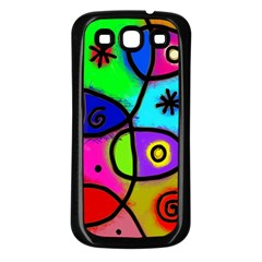Digitally Painted Colourful Abstract Whimsical Shape Pattern Samsung Galaxy S3 Back Case (Black)