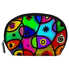 Digitally Painted Colourful Abstract Whimsical Shape Pattern Accessory Pouches (Large)
