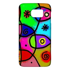 Digitally Painted Colourful Abstract Whimsical Shape Pattern Galaxy S6