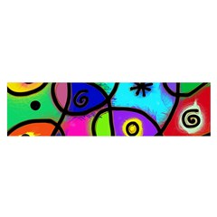 Digitally Painted Colourful Abstract Whimsical Shape Pattern Satin Scarf (Oblong)