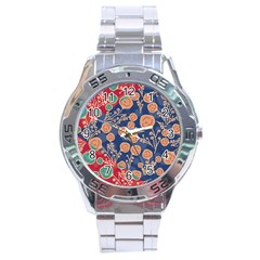 Floral Seamless Pattern Vector Texture Stainless Steel Analogue Watch