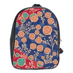 Floral Seamless Pattern Vector Texture School Bags (XL)