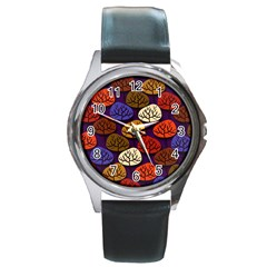 Colorful Trees Background Pattern Round Metal Watch