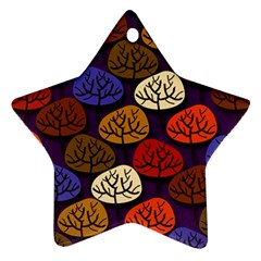 Colorful Trees Background Pattern Ornament (Star)