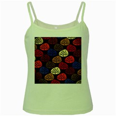 Colorful Trees Background Pattern Green Spaghetti Tank