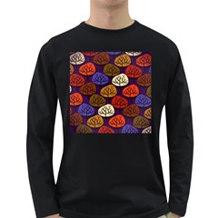 Colorful Trees Background Pattern Long Sleeve Dark T-Shirts