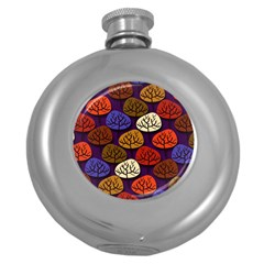 Colorful Trees Background Pattern Round Hip Flask (5 oz)