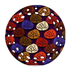 Colorful Trees Background Pattern Round Filigree Ornament (Two Sides)