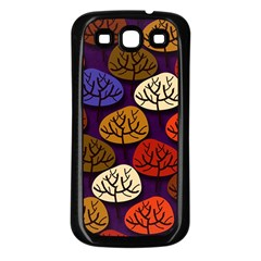 Colorful Trees Background Pattern Samsung Galaxy S3 Back Case (Black)