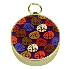 Colorful Trees Background Pattern Gold Compasses