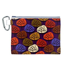 Colorful Trees Background Pattern Canvas Cosmetic Bag (L)