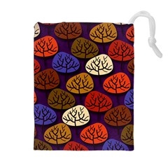 Colorful Trees Background Pattern Drawstring Pouches (Extra Large)