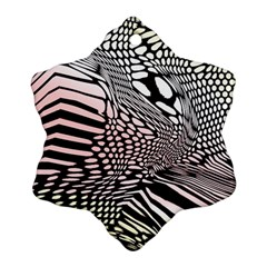 Abstract Fauna Pattern When Zebra And Giraffe Melt Together Snowflake Ornament (Two Sides)