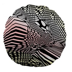Abstract Fauna Pattern When Zebra And Giraffe Melt Together Large 18  Premium Flano Round Cushions
