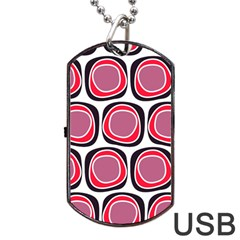 Wheel Stones Pink Pattern Abstract Background Dog Tag USB Flash (Two Sides)