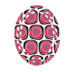 Wheel Stones Pink Pattern Abstract Background Ornament (Oval Filigree)