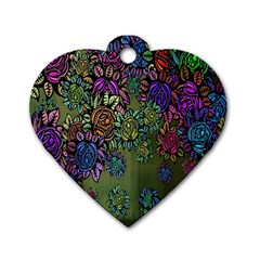 Grunge Rose Background Pattern Dog Tag Heart (Two Sides)