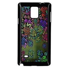 Grunge Rose Background Pattern Samsung Galaxy Note 4 Case (Black)
