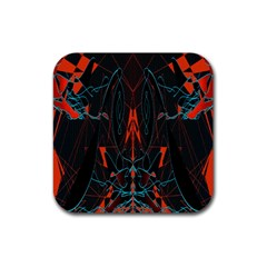 Doodle Art Pattern Background Rubber Square Coaster (4 pack)