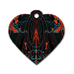 Doodle Art Pattern Background Dog Tag Heart (Two Sides)