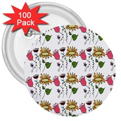 Handmade Pattern With Crazy Flowers 3  Buttons (100 pack)