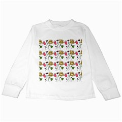Handmade Pattern With Crazy Flowers Kids Long Sleeve T-Shirts
