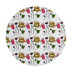 Handmade Pattern With Crazy Flowers Round Ornament (Two Sides)