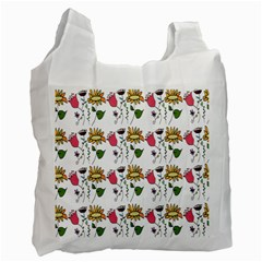 Handmade Pattern With Crazy Flowers Recycle Bag (Two Side)