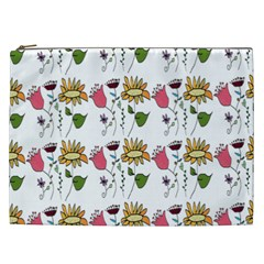 Handmade Pattern With Crazy Flowers Cosmetic Bag (XXL)