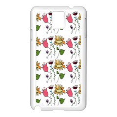 Handmade Pattern With Crazy Flowers Samsung Galaxy Note 3 N9005 Case (White)