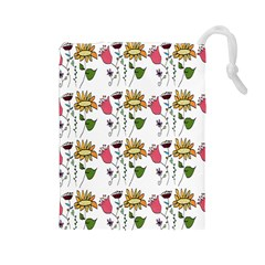 Handmade Pattern With Crazy Flowers Drawstring Pouches (Large)