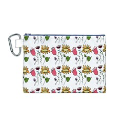 Handmade Pattern With Crazy Flowers Canvas Cosmetic Bag (M)