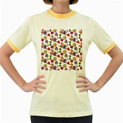 Cute Doodle Wallpaper Pattern Women s Fitted Ringer T-Shirts