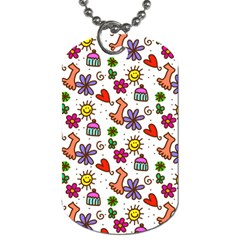 Cute Doodle Wallpaper Pattern Dog Tag (One Side)