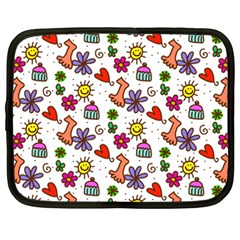 Cute Doodle Wallpaper Pattern Netbook Case (Large)