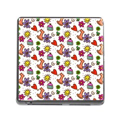 Cute Doodle Wallpaper Pattern Memory Card Reader (Square)