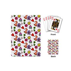 Cute Doodle Wallpaper Pattern Playing Cards (Mini)