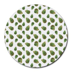 Leaves Motif Nature Pattern Round Mousepads