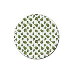 Leaves Motif Nature Pattern Rubber Round Coaster (4 pack)