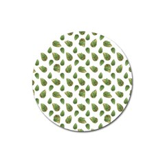 Leaves Motif Nature Pattern Magnet 3  (Round)