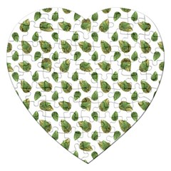 Leaves Motif Nature Pattern Jigsaw Puzzle (Heart)