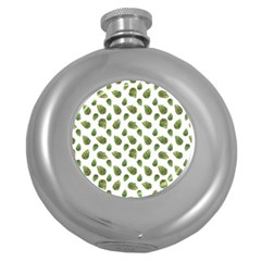 Leaves Motif Nature Pattern Round Hip Flask (5 oz)