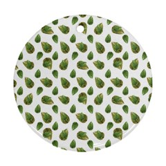 Leaves Motif Nature Pattern Round Ornament (Two Sides)