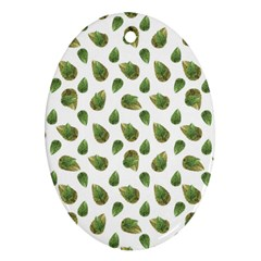 Leaves Motif Nature Pattern Oval Ornament (Two Sides)