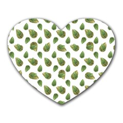 Leaves Motif Nature Pattern Heart Mousepads