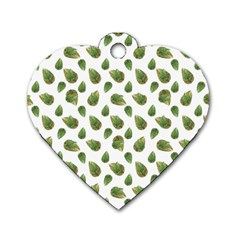Leaves Motif Nature Pattern Dog Tag Heart (Two Sides)