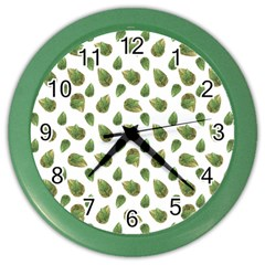 Leaves Motif Nature Pattern Color Wall Clocks