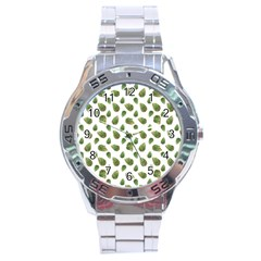 Leaves Motif Nature Pattern Stainless Steel Analogue Watch