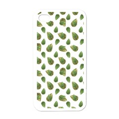 Leaves Motif Nature Pattern Apple iPhone 4 Case (White)
