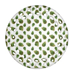 Leaves Motif Nature Pattern Round Filigree Ornament (Two Sides)